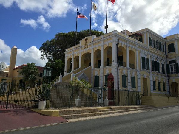 Danish style building in Christiansted, a Caribbean destination wedding location. Photo taken by Jamie Chang destination wedding planner of Mango Muse Events.