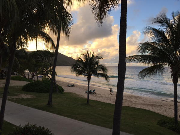 View of the beach from the Renaissance Carambola Resort, a Caribbean destination wedding venue. Photo taken by Jamie Chang destination wedding planner of Mango Muse Events.