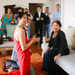 Couple at a Chinese tea ceremony held at their destination wedding in Hawaii by destination wedding planner Jamie Chang of Mango Muse Events.