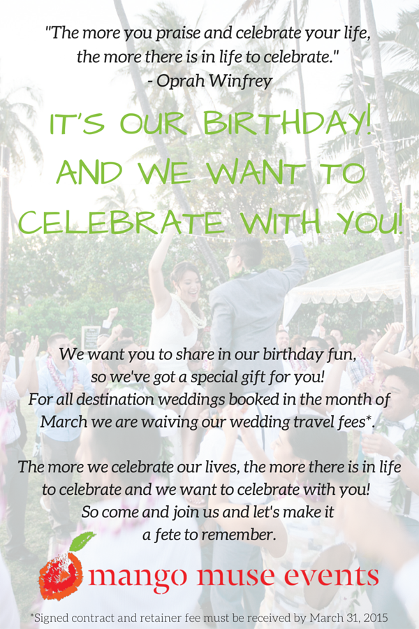 A special birthday promo for Mango Muse Events birthday celebration