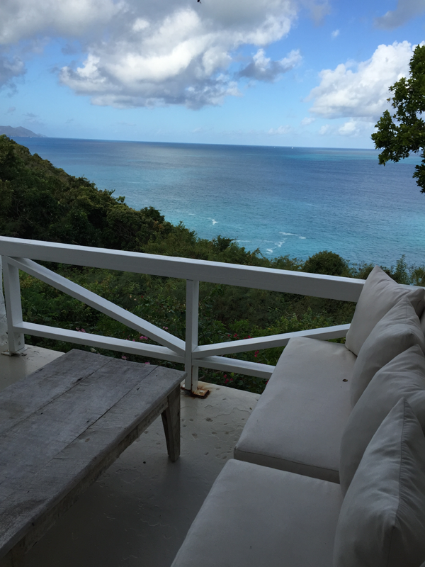 Ocean view from one of the patios of the private cottages in Guana, a destination wedding location in the Caribbean by Jamie Chang destination wedding planner of Mango Muse Events.