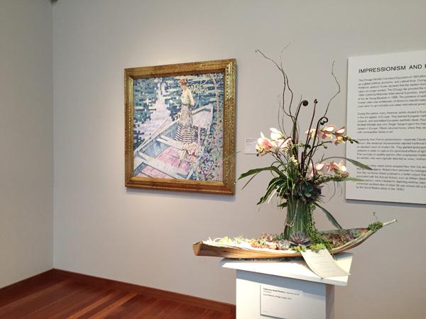 Floral arrangement of Impressionistic painting at Bouquets to Art 2015, de Young Museum, San Francisco