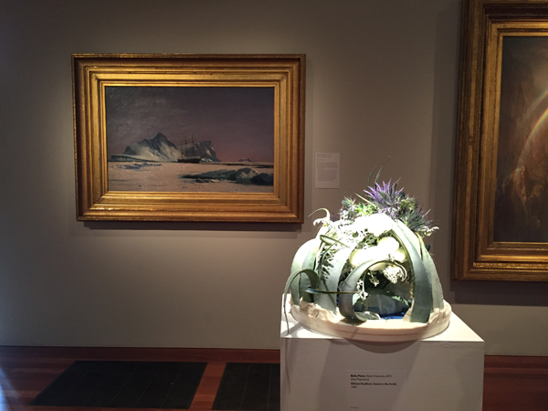 Floral design of painting at Bouquets to Art 2015, de Young Museum, San Francisco.