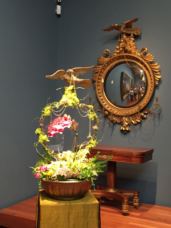 Eagle and flower basket display at Bouquets to Art 2015 at deYoung Museum in San Francisco.