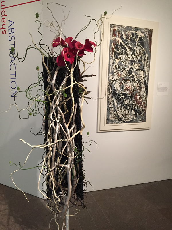 Vine and floral interpretation of Pollack painting at Bouquets to Art 2015, de Young Museum, San Francisco.