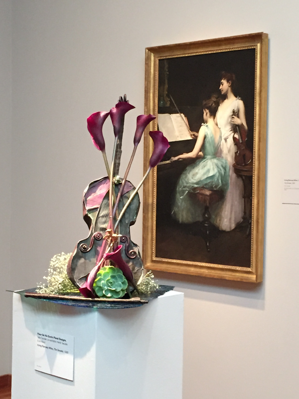 Violin and lillies floral design at Bouquets to Art 2015 at deYoung Museum in San Francisco.