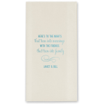 Customized bathroom hand towels for wedding guests.