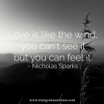 Love is like the wind, you can't see it but you can feel it. Love quote.