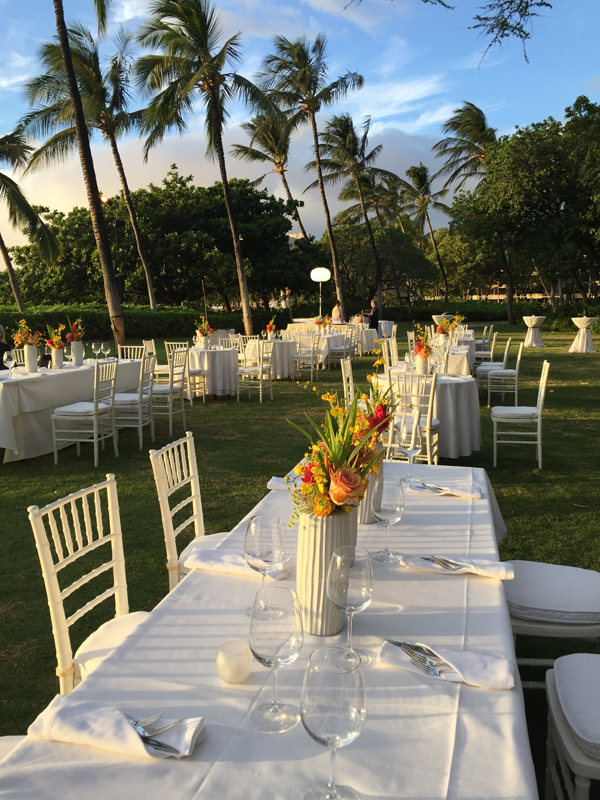 Rehearsal dinner table for a Big Island destination wedding designed by Jamie Chang of Mango Muse Events at Mauna Kea resort a destination wedding venue in Big Island, Hawaii.