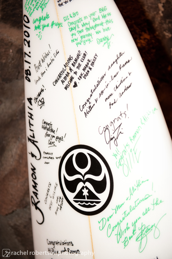 Surfboard guest book for a destination wedding in Hawaii by Jamie Chang destination wedding planner of Mango Muse Events.