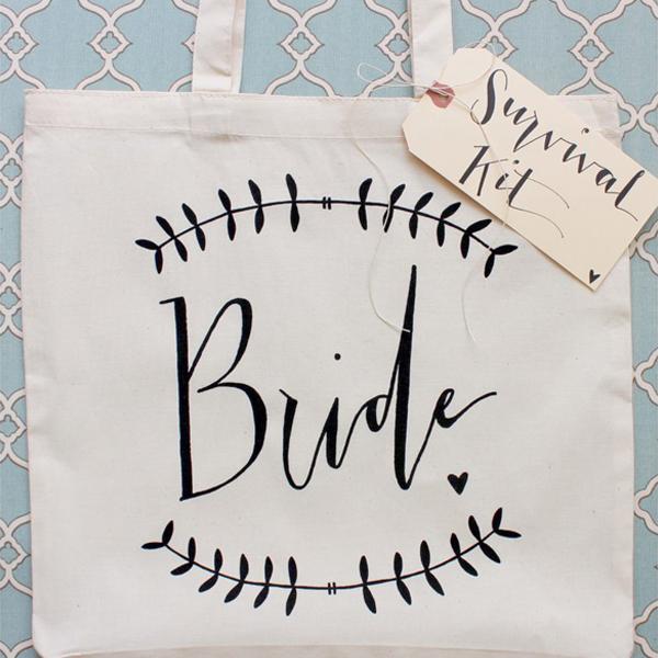 Wedding bride survival kit bag.