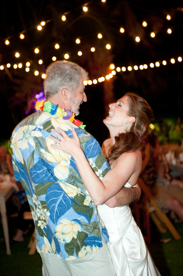 Father Daughter dance at a destination wedding in Hawaii.