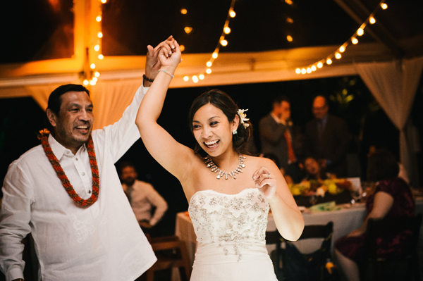 Father daughter dance at a destination wedding reception in Hawaii by Jamie Chang destination wedding planner of Mango Muse Events.