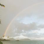 Rainbow over the water in Hawaii.