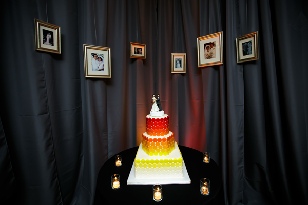 Red and yellow geometric wedding cake. Event design by Jamie Chang of Mango Muse Events.