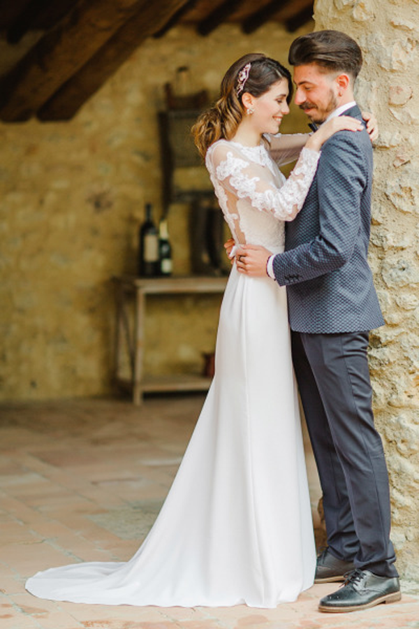Newlyweds at their destination wedding in Tuscany, Italy.