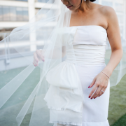 Wedding veil blowing in the wind at a San Francisco wedding by destination wedding planner of Mango Muse Events