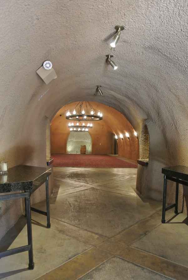 Underground wine cave at destination wedding venue Calistoga Ranch.