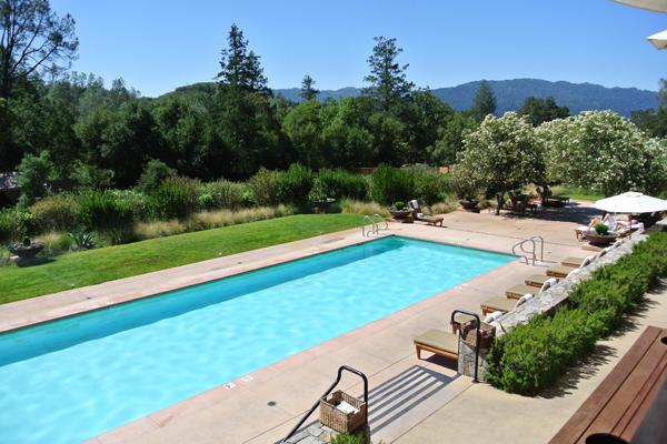 Outdoor pool at destination wedding venue Calistoga Ranch.