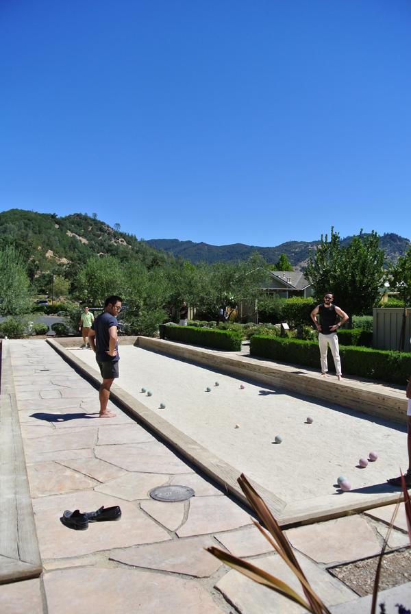 Bocce ball court at destination wedding venue in Solage Calistoga.