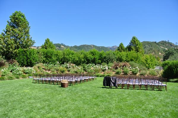 The ceremony lawn at destination wedding venue at Solage Calistoga.