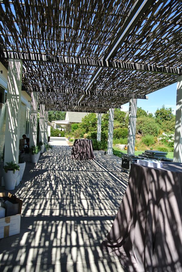 Outside terrace at destination wedding venue in Solage Calistoga.