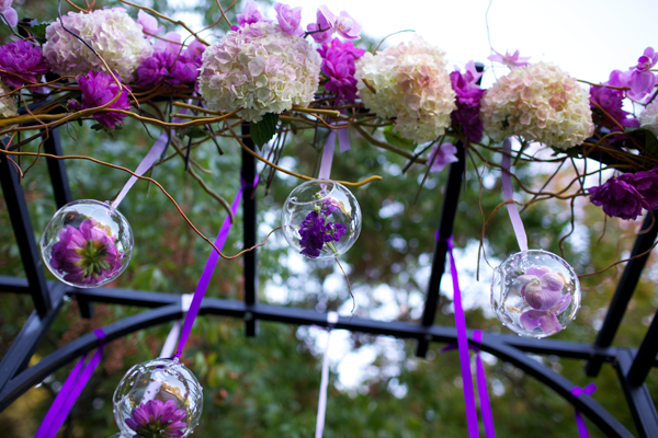 Purple wedding design using purple altar flowers. Event design by Jamie Chang of Mango Muse Events.