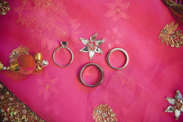 Wedding rings on a sari at a Indian wedding by Destination wedding planner Jamie Chang of Mango Muse Events