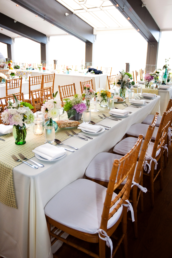 Wedding reception tables at Half Moon Bay. Event design by Jamie Chang of Mango Muse Events.