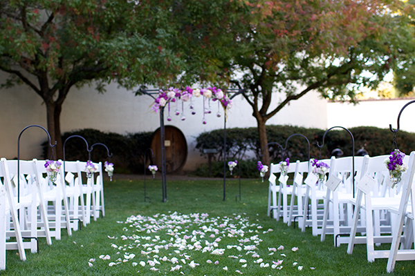 Purple wedding aisle inspiration. Event design by Jamie Chang of Mango Muse Events.