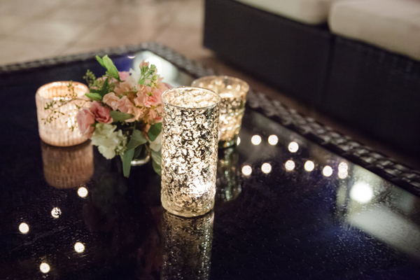 Wedding design using brides gold votive candle holders. Destination wedding in the Caribbean by Jamie Chang destination wedding planner of Mango Muse Events.