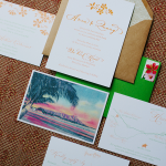 Invitations for a Hawaii destination wedding by Destination wedding planner Mango Muse Events