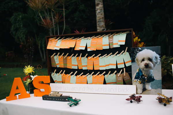 Wedding design using collected pieces of travel memorabilia at a destination wedding in Hawaii. Event design by Jamie Chang of Mango Muse Events.