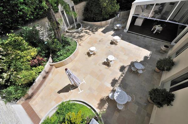 Upstairs view of the outdoor terrace at the La Maison de Polytechniciens a destination wedding venue in Paris