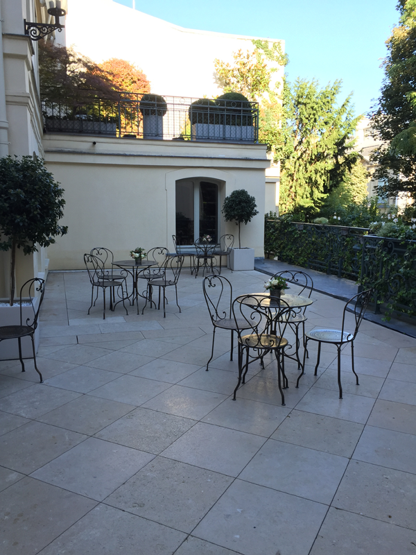 Outdoor terrace of the La Maison de Polytechniciens a destination wedding venue in Paris