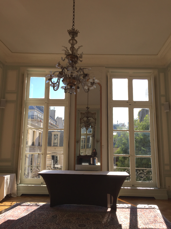 Mirror in an upstairs room at the La Maison de Polytechniciens a destination wedding venue in Paris