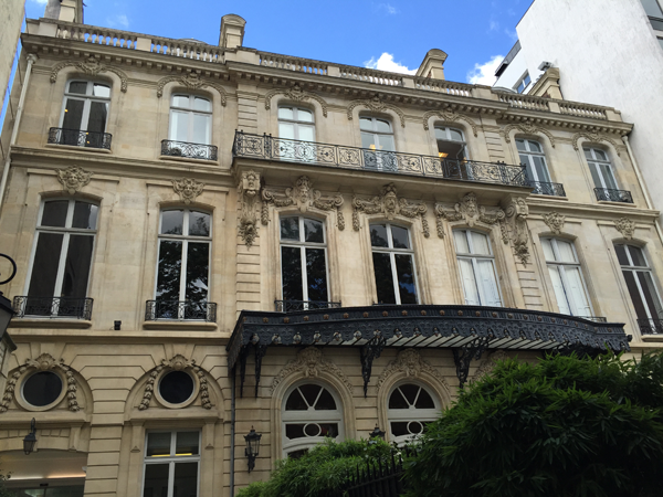 Outside the Salons France Ameriques a destination wedding venue in Paris