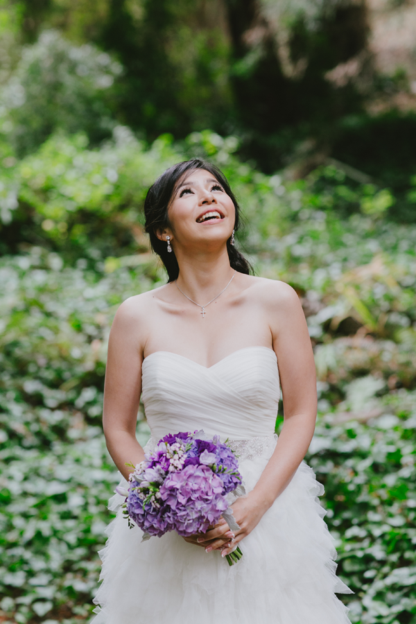 Bride at her Stern Grove outdoor San Francisco destination wedding by Jamie Chang of Mango Muse Events