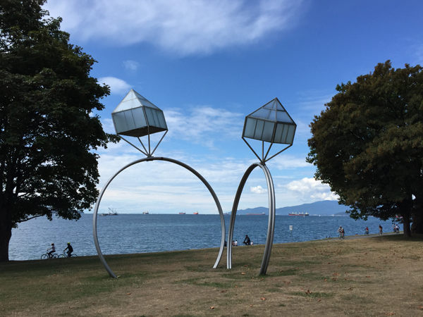 Sculpture in park at destination wedding in Vancouver