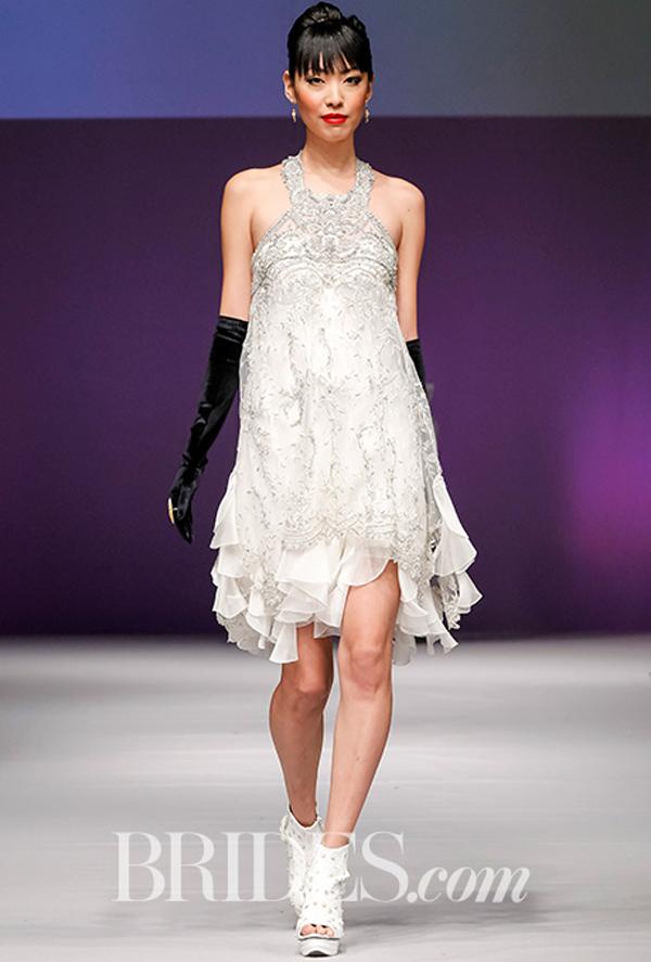 Yumi Katsura Beaded Short Wedding Dress Fall 2016