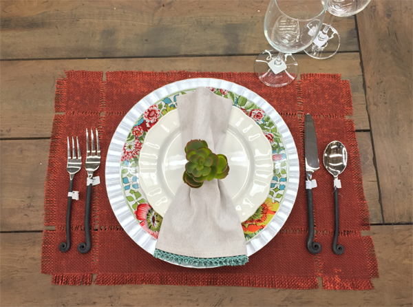 Thanksgiving table setting idea. Rustic red, metallic and bohemian elements combined.