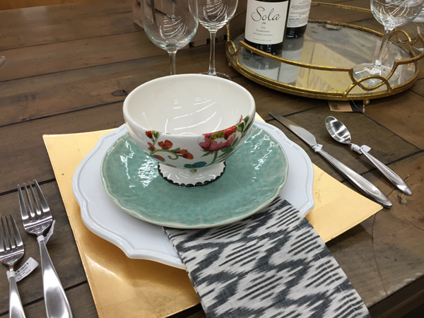 Use an Ikat print napkins for a non traditional Thanksgiving table setting.
