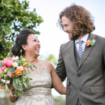 Newlywed couple at Cornerstone Winery in Sonoma. Wedding by Jamie Chang of Mango Muse Events