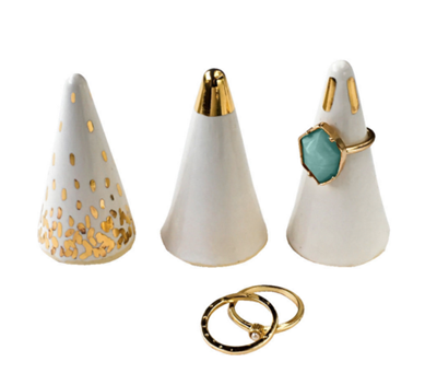 White and gold ring holders Christmas gift idea by Jamie Chang of Mango Muse Events