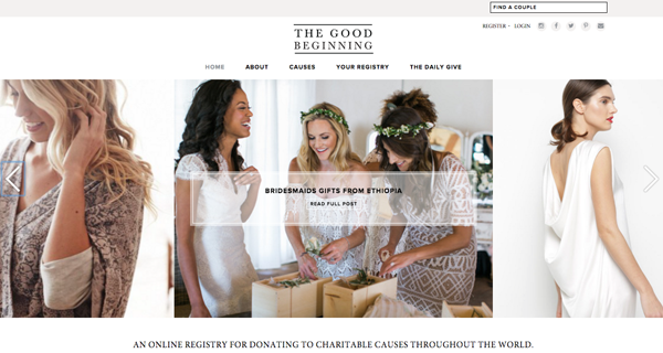 Charitable wedding registry The Good Beginning