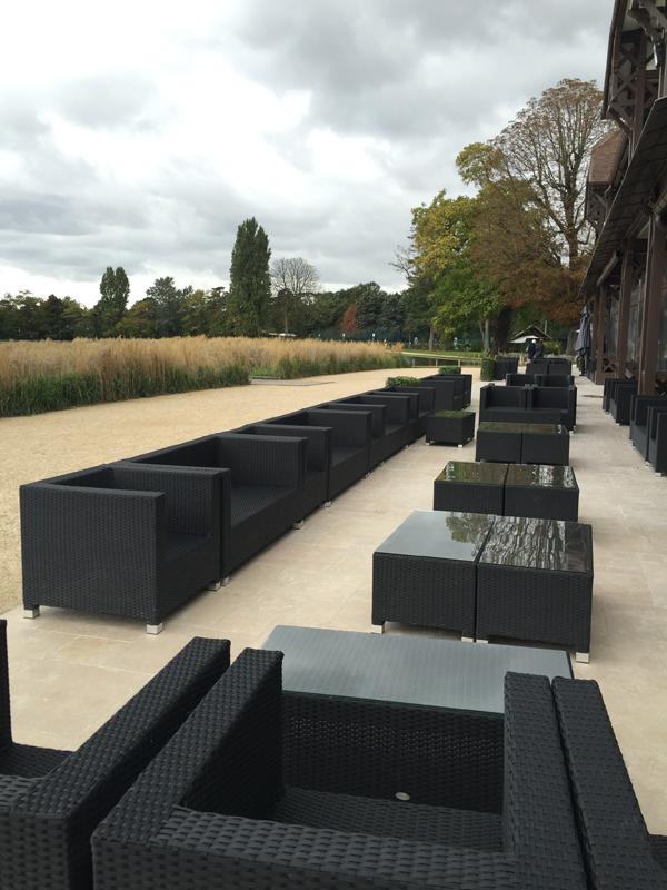 Outdoor setting terrace with lounge furniture at Les Pavillons des Etangs Destination Wedding Venue in Bois-de-Boulogne Paris France by Destination wedding planner Mango Muse Events