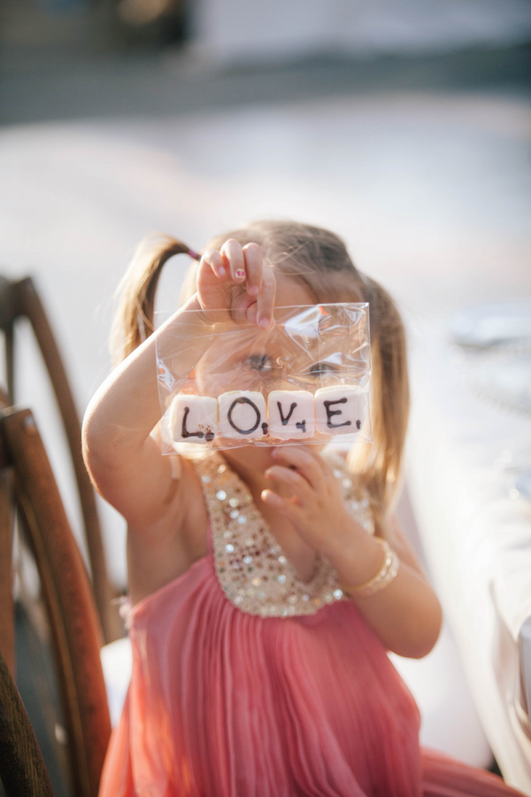 Valentine's Day wedding inspiration: Give your guests cookie favors that spell out the word love