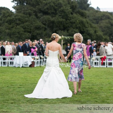 Bride walking down the aisle with her mom at a Carmel destination wedding by Destination wedding planner Mango Muse Events