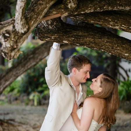 Bride and groom cuddling at a Caribbean destination wedding by Destination wedding planner Mango Muse Events