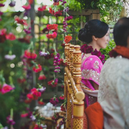 Indian wedding ceremony garland backdrop by Destination wedding planner Mango Muse Events